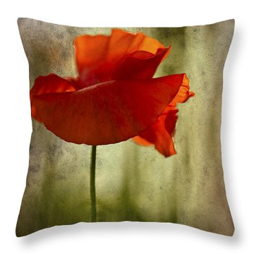 Moody Poppy. Throw Pillow by Clare Bambers - Bambers Images