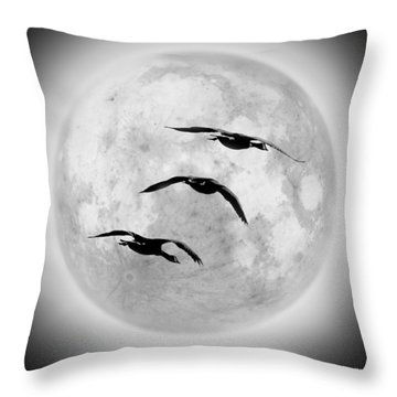 Moon Geese Throw Pillow by Brian Wallace