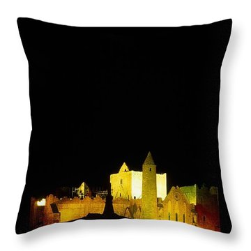 Moon Over Rock Of Cashel, Co Tipperary Throw Pillow by The Irish Image Collection