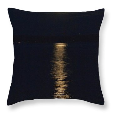 Throw Pillow featuring the photograph Moon Over Seneca Lake by William Norton