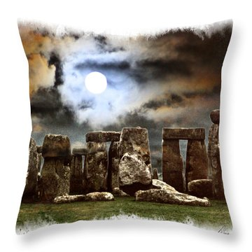 Moon Over Stonehenge Throw Pillow