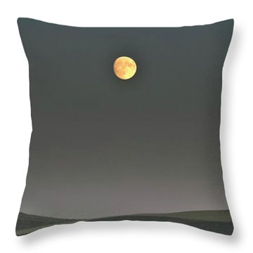 Throw Pillow featuring the photograph Moon Over The Palouse by Albert Seger