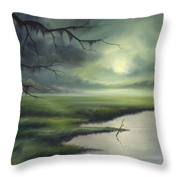 Moon Over Wadmalaw Island  Throw Pillow by James Christopher Hill