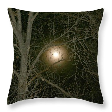 Throw Pillow featuring the photograph Moon Through The Trees by Laurel Talabere