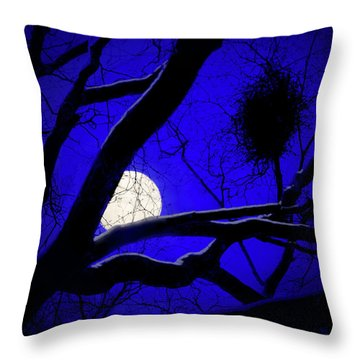 Moon Wood  Throw Pillow