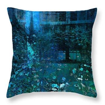 Moonlight In The Garden Throw Pillow by Ann Powell