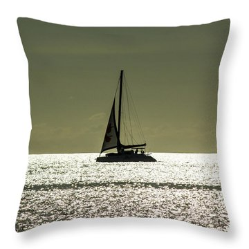 Moonlight Sail Throw Pillow by Rene Triay Photography