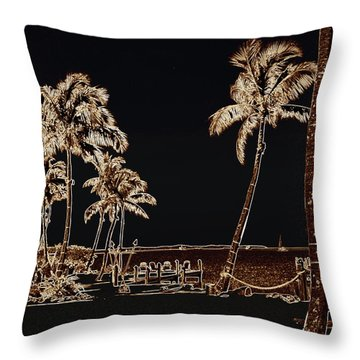 Moonlit Palms Throw Pillow by Rene Triay Photography