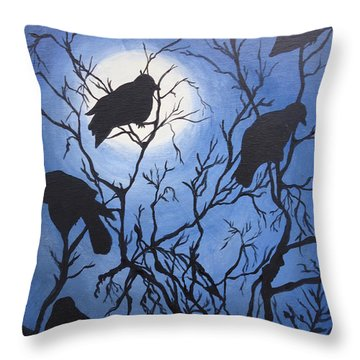 Moonlit Roost Throw Pillow