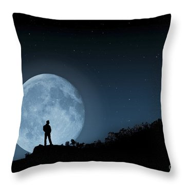 Throw Pillow featuring the photograph Moonlit Solitude by Steve Purnell