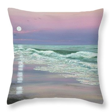 Throw Pillow featuring the painting Moonrise - Golden Mile by Kathleen McDermott