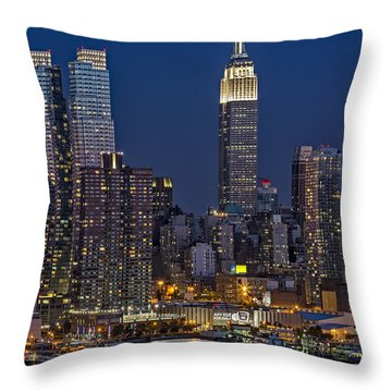 Moonrise Along The Empire State Building Throw Pillow by Susan Candelario