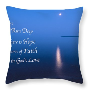 Moonrise On Lake Superior With Quote Throw Pillow