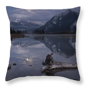 Moonrise Over Banff Throw Pillow