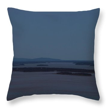 Moonrise Over Penobscot Bay And Acadia National Park From Camden Hills Throw Pillow by John Burk