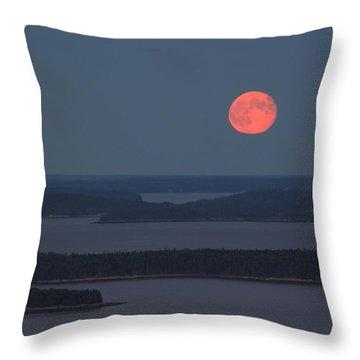 Moonrise Over Penobscot Bay From Camden Hills Throw Pillow by John Burk