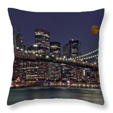 Moonrise Over The Brooklyn Bridge Throw Pillow by Susan Candelario