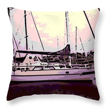 Moored Throw Pillow by George Pedro