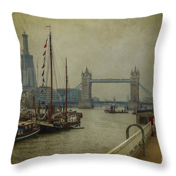 Moored Thames Barges. Throw Pillow by Clare Bambers