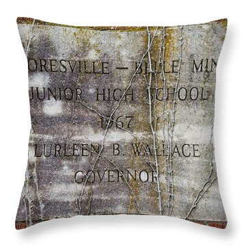 Mooresville - Belle Mina Junior High School 1967 Throw Pillow by Kathy Clark