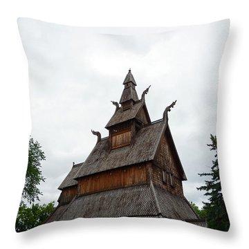 Moorhead Stave Church 26 Throw Pillow