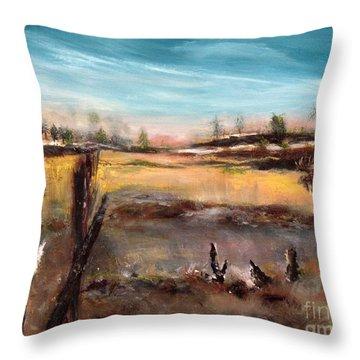 Moose Landscape Throw Pillow by France Laliberte