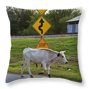Mooving Along Throw Pillow by Toni Hopper