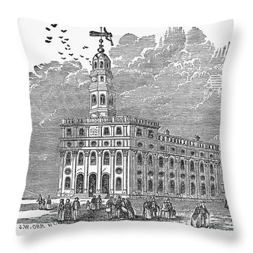 Mormon Temple, Nauvoo Throw Pillow by Granger