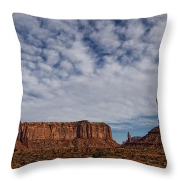 Morning Clouds Over Monument Valley Throw Pillow by Robert Postma