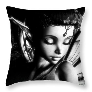 Morning Fairy Bw Throw Pillow by Alexander Butler