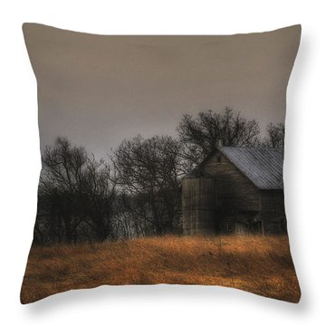 Morning Fog At Jorgens Barn Throw Pillow