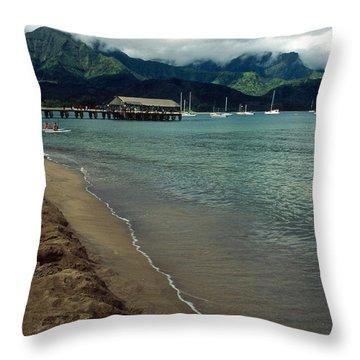Morning In Hanalei Bay Throw Pillow by Kathy Yates