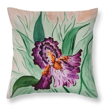 Morning Iris Throw Pillow by Cynthia Morgan