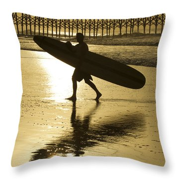 Morning Session Longboard Surfing Folly Beach Sc  Throw Pillow by Dustin K Ryan