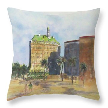 Morning Walk By The Villa Riviera Throw Pillow