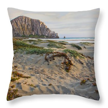 Morro Rock Throw Pillow by Heidi Smith