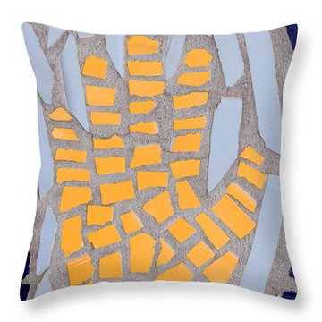 Mosaic Yellow Hand Throw Pillow by Carol Leigh