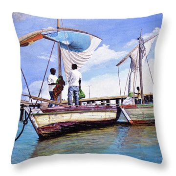 Mosambique Fishermen Throw Pillow by Stuart B Yaeger