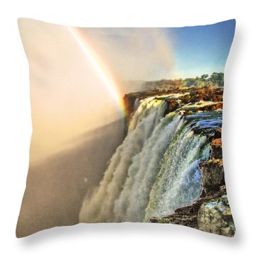 Mosi Oa Tunya Throw Pillow by William Fields