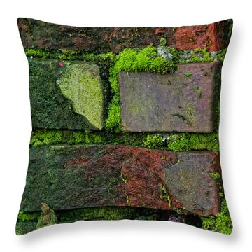 Throw Pillow featuring the digital art Mossy Brick Wall by Carol Ailles
