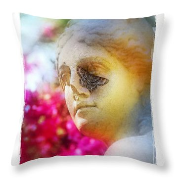 Throw Pillow featuring the photograph Moth On Statue by Judi Bagwell