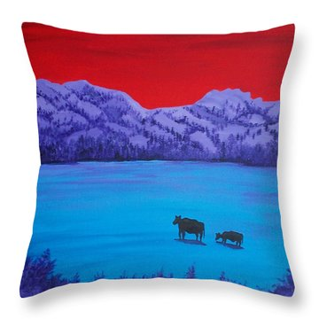 Mother And Calf Throw Pillow by Randall Weidner