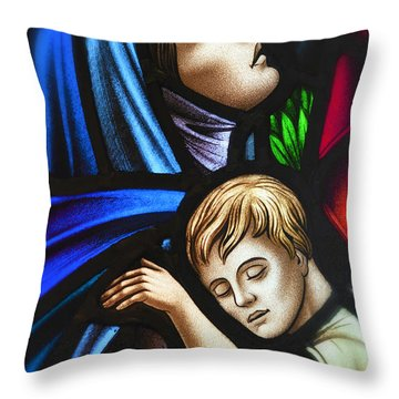 Throw Pillow featuring the photograph Mother And Child Stained Glass by Verena Matthew