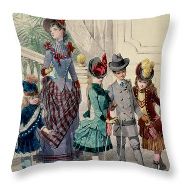 Mother And Children In Indoor Costume Throw Pillow by Jules David