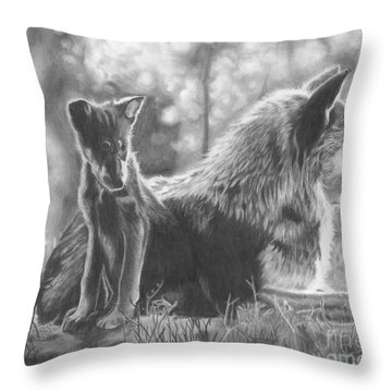 Mother And Pup Throw Pillow