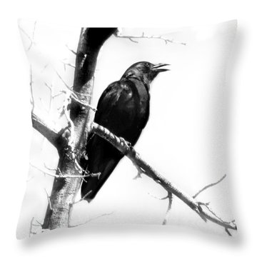 Mother Crow Throw Pillow