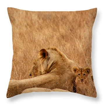 Mother Lion With Family Throw Pillow