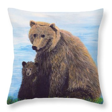 Throw Pillow featuring the painting Mother Love  Two by Stuart B Yaeger