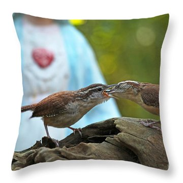 Throw Pillow featuring the photograph Mother Wren Feeding Juvenile Wren by Luana K Perez