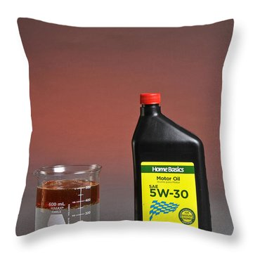 Motor Oil Dissolution Test Throw Pillow by Photo Researchers, Inc.